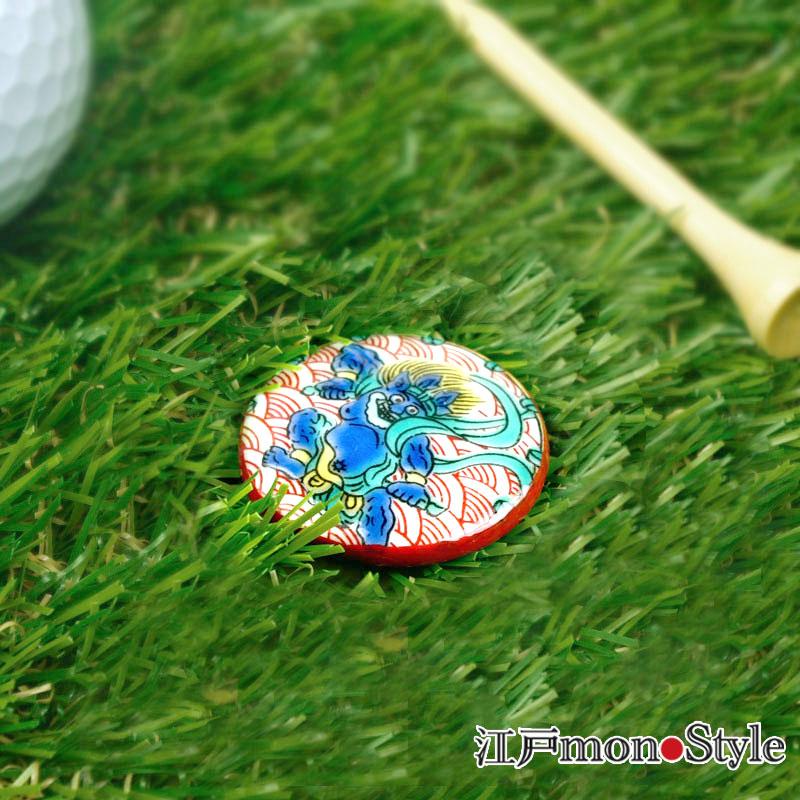 【九谷焼】ゴルフマーカー(雷神)