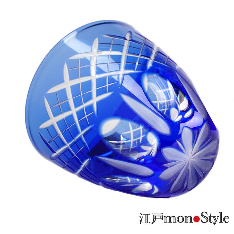 【ペア】江戸切子ぐい呑み(映見重ね矢来/金赤&青藍)【名入れ・メッセージ入れ可】