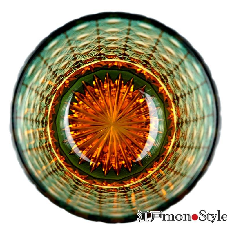 江戸切子グラス(縁繋ぎ/緑×アンバー)【名入れ・メッセージ入れ可】