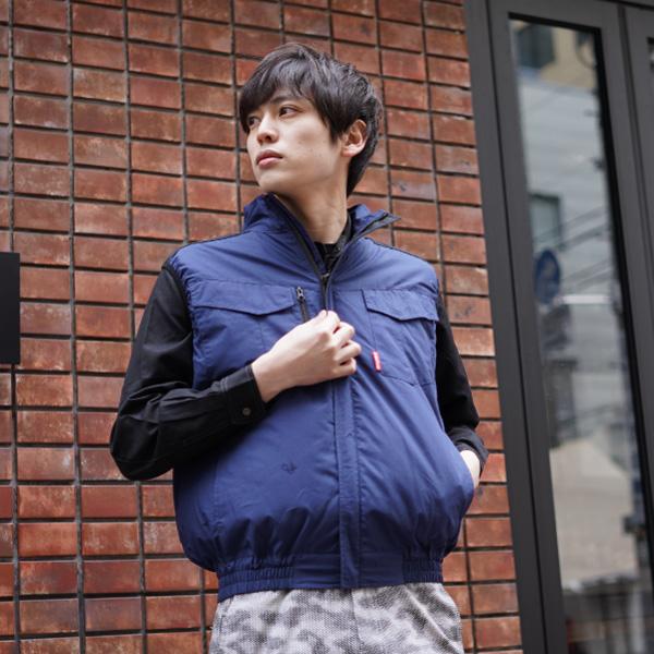 空調服効果 ハーネス対応空調ベスト(綿100%) バッテリーセット ネイビー×ブラック (ユニセックス)