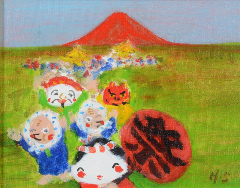 赤富士祭り(油彩画)