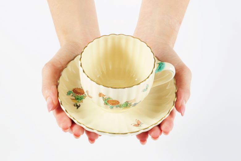 【白薩摩】菊型コーヒーカップ(菊)  ※送料無料