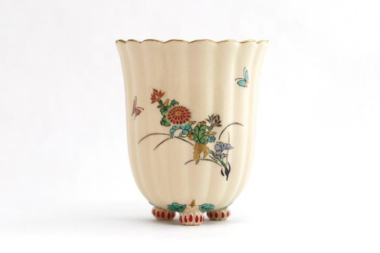 【白薩摩】菊脚フリーカップ(菊)  ※送料無料