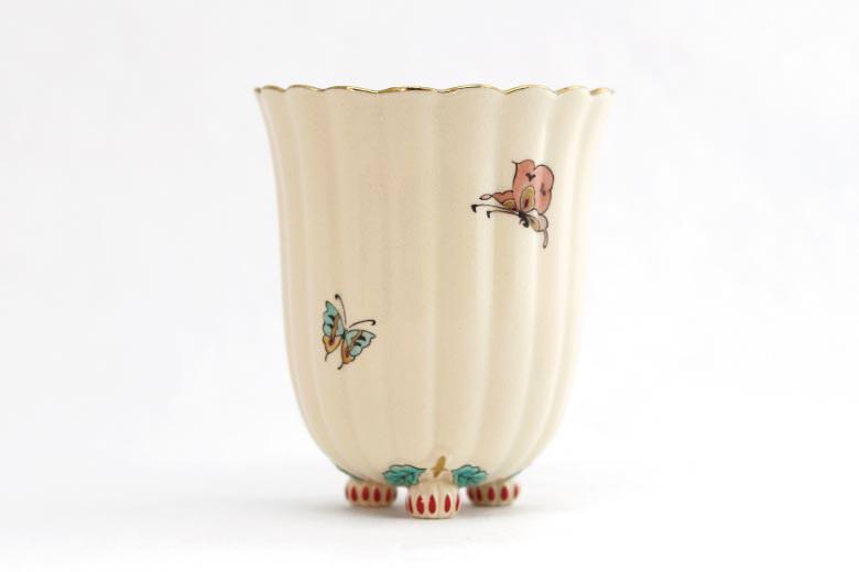 【白薩摩】菊脚フリーカップ(蝶)  ※送料無料