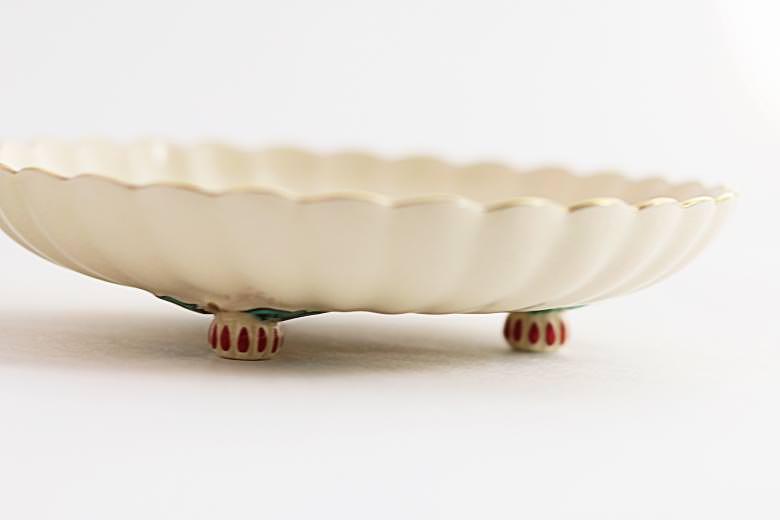 【薩摩焼】白薩摩 菊脚皿 小13cm(菊)