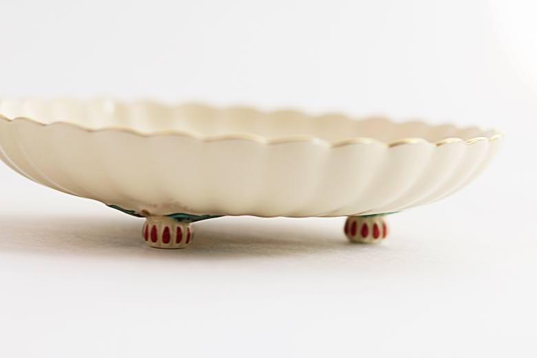【薩摩焼】白薩摩 菊脚皿 小13cm(蝶)
