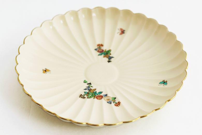 【薩摩焼】白薩摩 菊花型皿 大24cm  ※送料無料