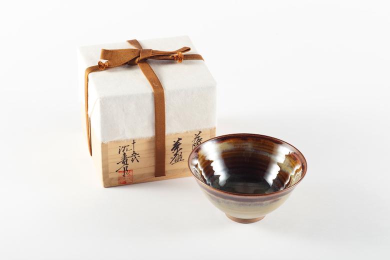 十五代沈壽官作 【薩摩焼】 抹茶碗(そば釉)