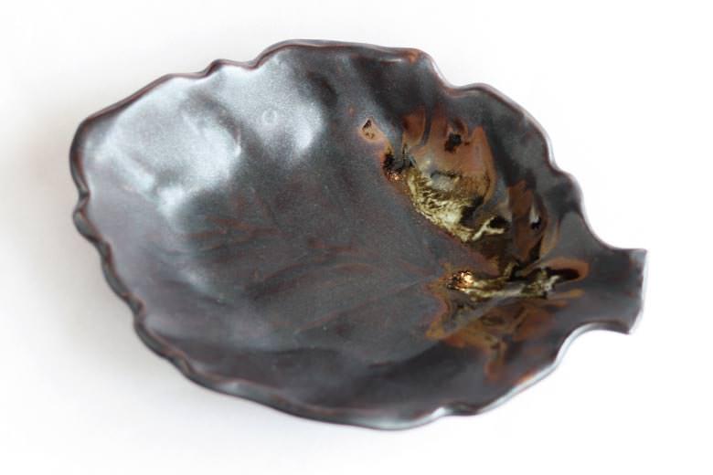 【薩摩焼】葉皿(黒)