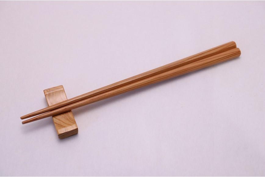 屋久杉八角塗箸・夫婦箸 23cm・24cm はし置き付(箱入)