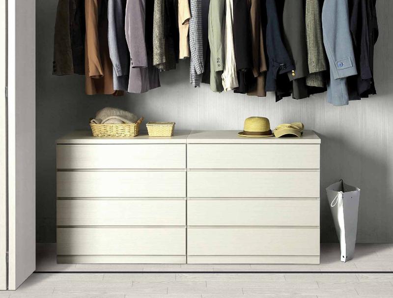 幅60-5段(奥行55cm)クローゼット収納チェスト「フィット」ホワイト・オーク・ウォールナット/3色対応