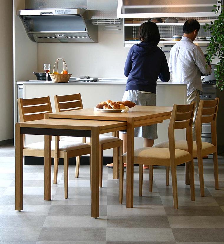ダイニングテーブル Schroll140-ho 140-252x80x73cm 伸長式 WAプラス
