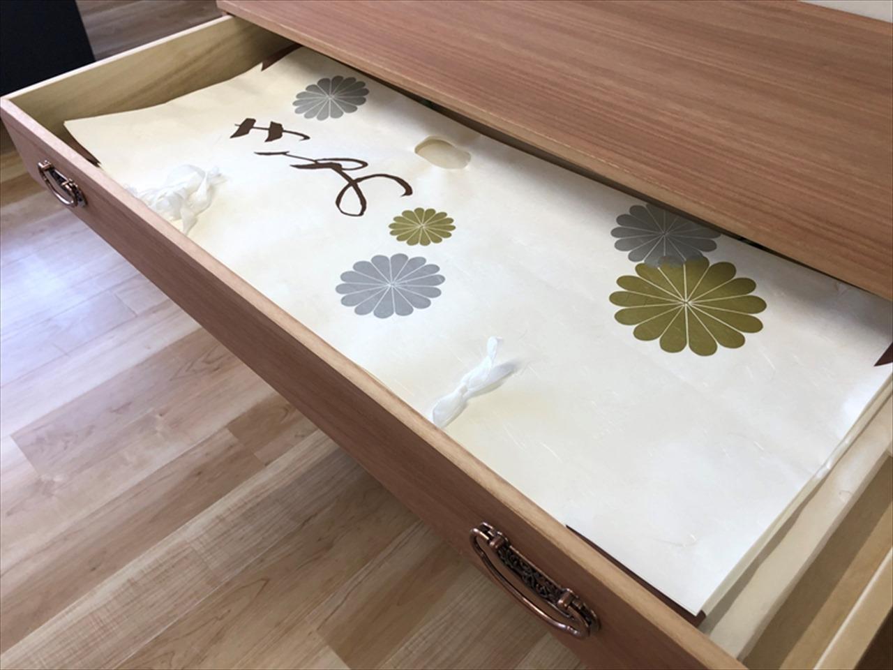 肥前桐民芸 柿渋染め総桐チェスト5段 PA−1005