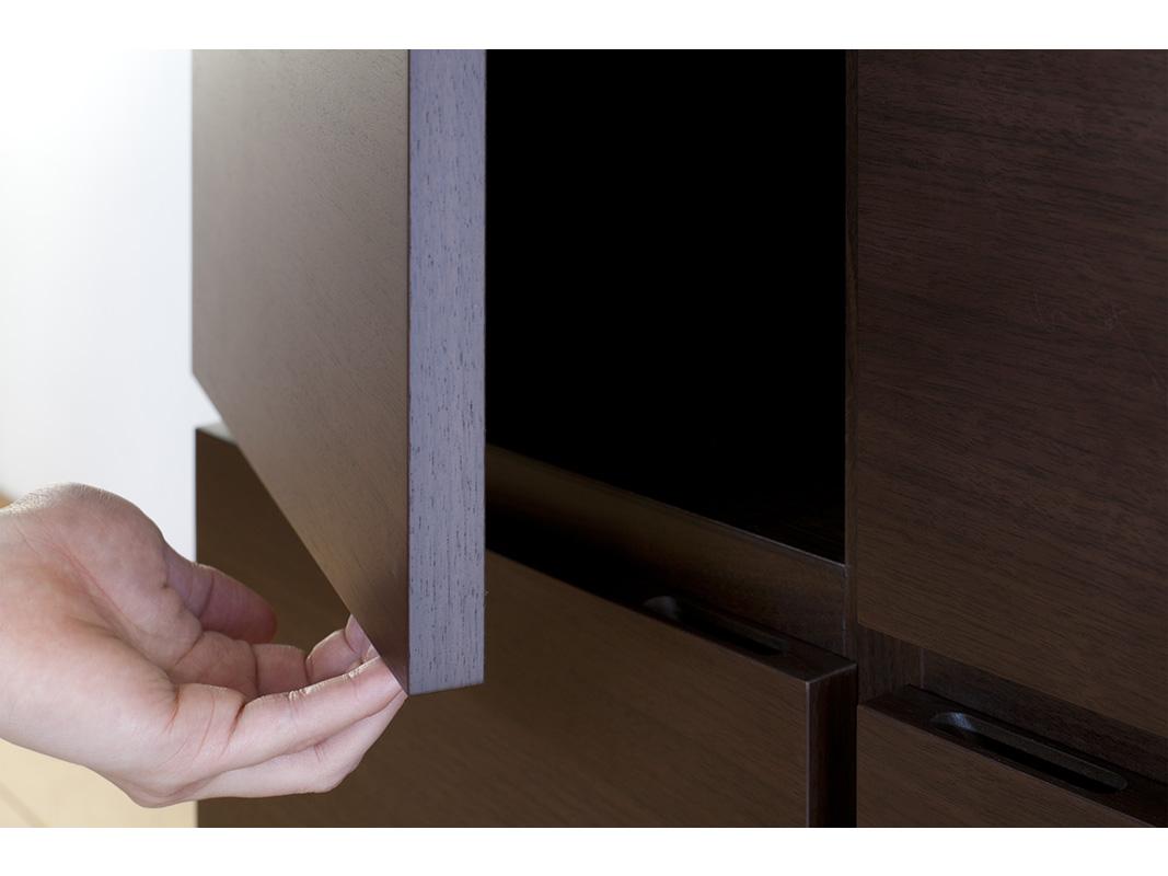 キャビネット ペルル 80-3 完成品 ウォールナット オーク ブラックチェリー ハードメープル 鏡面 ホワイト