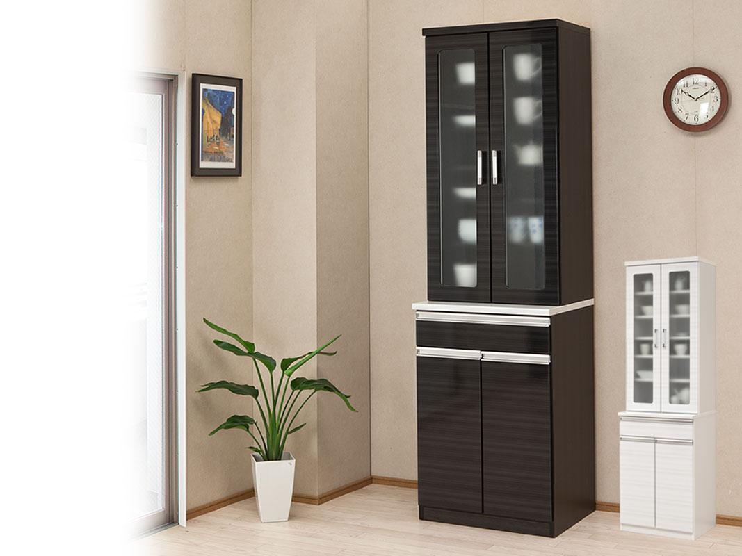 上品な鏡面木目の大容量食器棚・ダイニングボード カイザー 幅60cm ホワイト ブラック