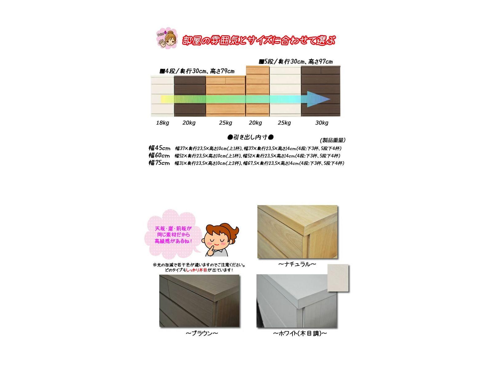 薄型チェスト(奥行30cm) 60cm幅4段タイプ(3色対応)
