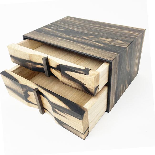 【黒柿】二段整理箱