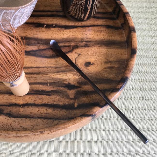 【黒柿】茶杓 拭漆仕上げ