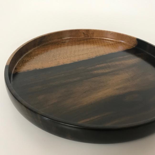 【黒柿】丸盆(φ270mm)
