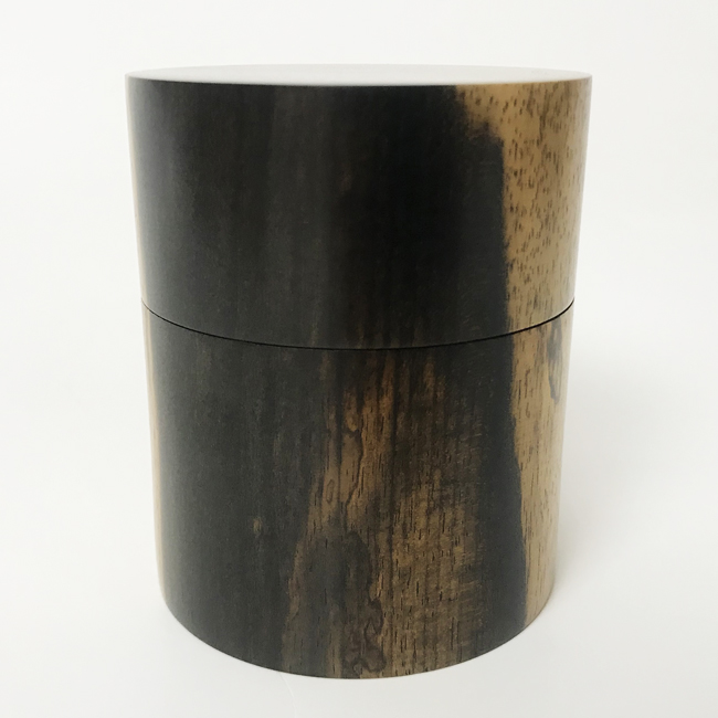 【黒柿】茶筒 中 平