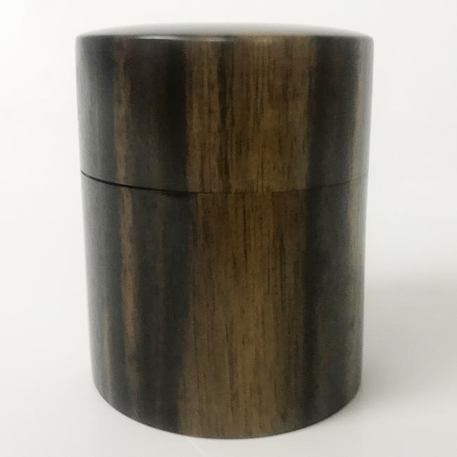 【黒柿】茶筒 中 上丸