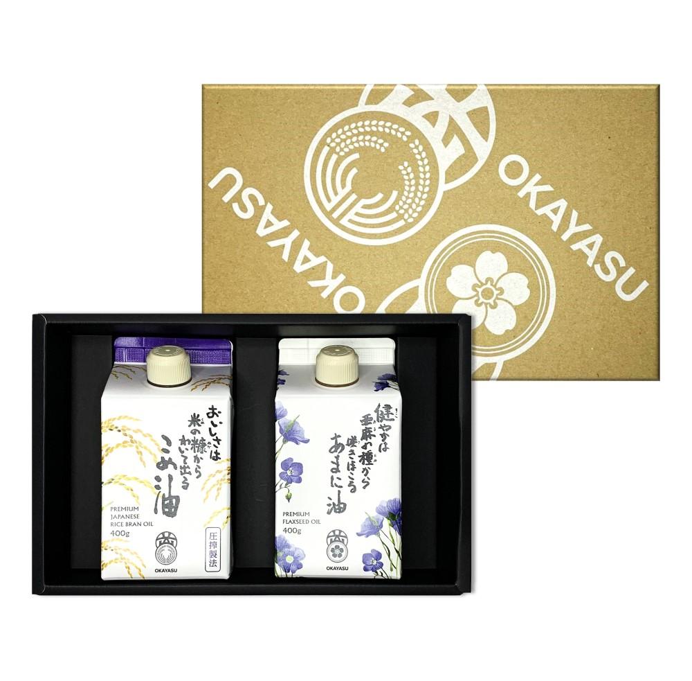 【 贈答用 ・ 組合せギフトセット 】 [6]贅沢卓上使いセット  (  亜麻仁油 圧搾米油 ) 熨斗可能 / 圧搾 こめ油 あまに油 okayasu