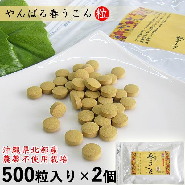 やんばる春うこん粒 500粒入り×2個セット(目安66日分) 沖縄産 農薬不使用 ウコン堂 送料無料