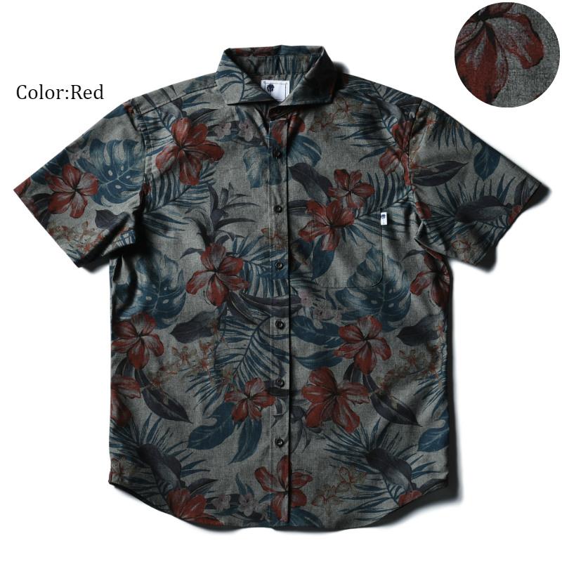 アロハシャツ かりゆしウェア メンズ(男性用)「Night flower」全2色 人気アロハがリニューアル! 半袖  大きいサイズありリゾートウエディング 沖縄結婚式にアロハシャツ【メール便利用で送料無料】