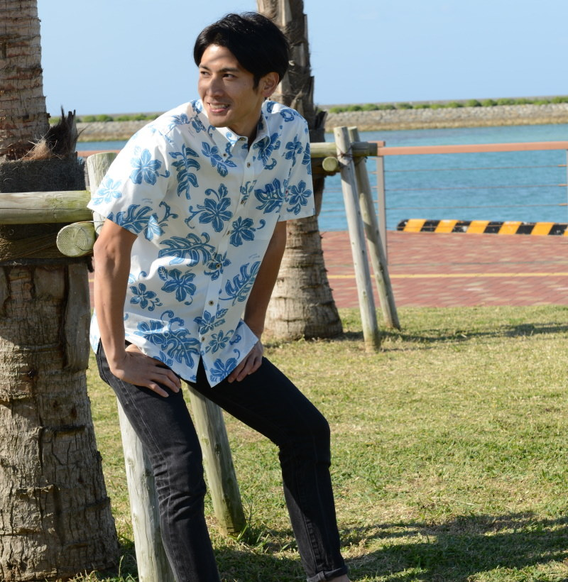 かりゆしウェア メンズ アロハシャツ 沖縄版 かりゆし ココナッツジュース シャツ 結婚式 Pleasant Sound 全2色  半袖 大きいサイズありメール便利用で 送料無料
