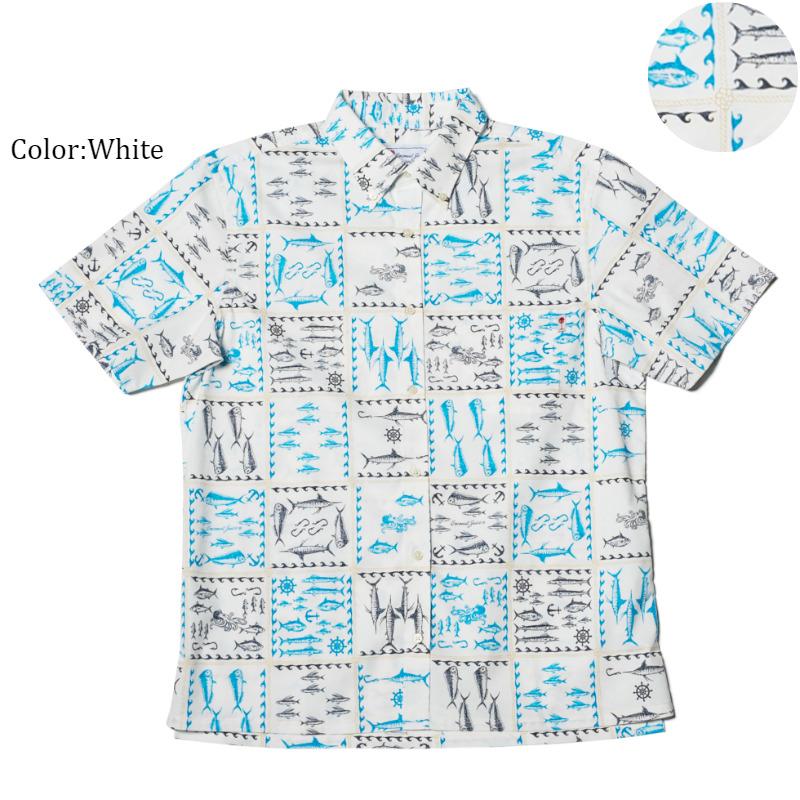アロハシャツ かりゆしウェア メンズ(男性用)「Ocean Aquarium」全3色 人気アロハがリニューアル! 半袖  大きいサイズあり 沖縄結婚式にアロハシャツ 【メール便利用で送料無料】