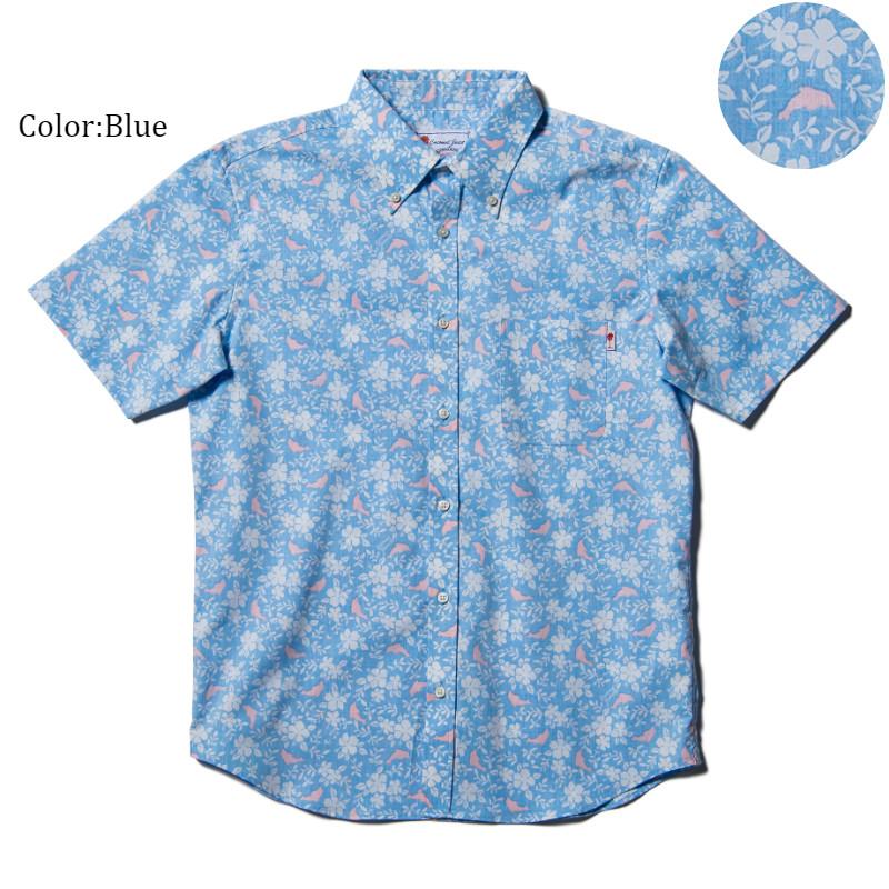 アロハシャツ かりゆしウェア メンズ(男性用)「Dolfine&Plant」全4色 人気アロハがリニューアル! 半袖  大きいサイズあり 沖縄結婚式にアロハシャツ 【メール便利用で送料無料】