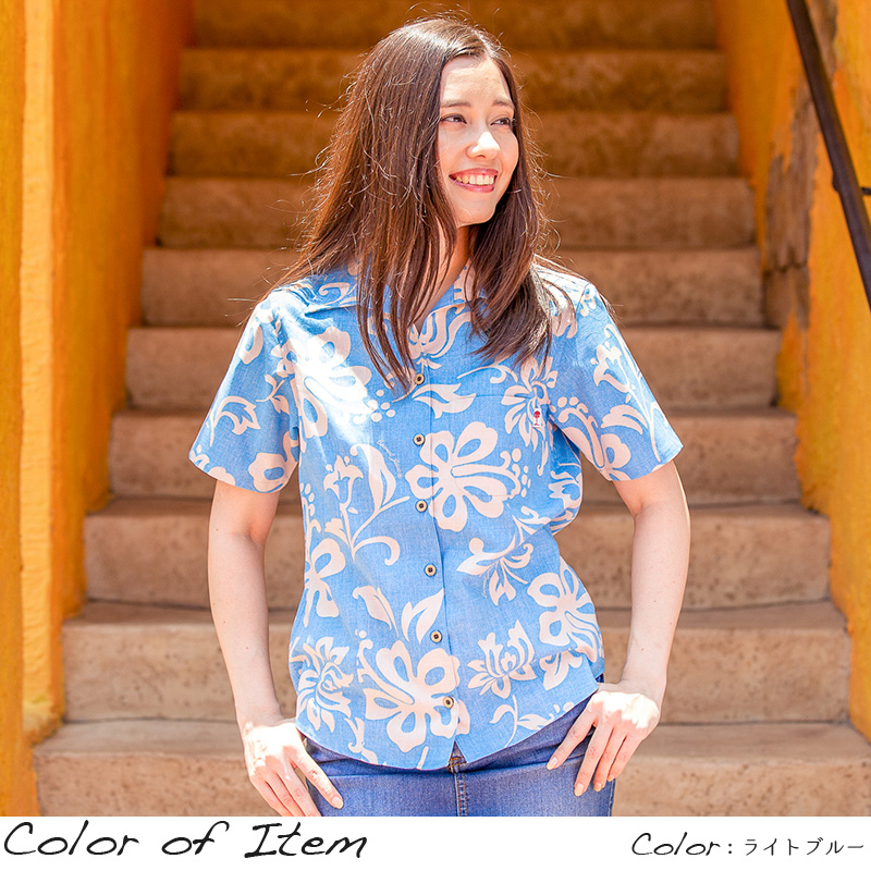 アロハシャツ かりゆしウェア レディース(女性用)「Heaven St. Hibi」全4色 人気アロハがリニューアル! 半袖  大きいサイズあり 沖縄結婚式にアロハシャツ 【メール便利用で送料無料】