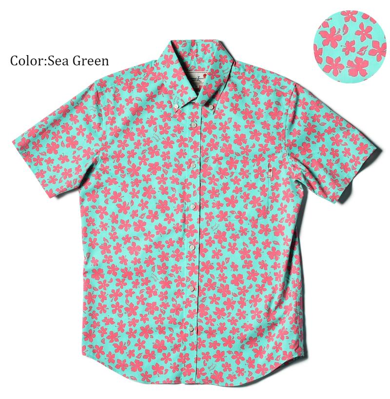 アロハシャツ かりゆしウェア メンズ(男性用)「Hibiscus Wind」全4色 人気アロハがリニューアル! 半袖  大きいサイズありリゾートウエディング 沖縄結婚式にアロハシャツ【メール便利用で送料無料】