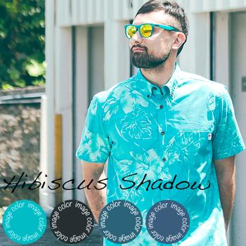アロハシャツ かりゆしウェア メンズ(男性用)「Hibiscus Shadow」全4色 人気アロハがリニューアル! 半袖  大きいサイズあり 沖縄結婚式にアロハシャツ 【メール便利用で送料無料】