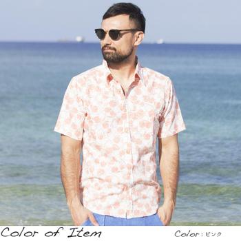 アロハシャツ かりゆしウェア メンズ(男性用)「Hibiscus Batterfly」全3色 人気アロハがリニューアル! 半袖  大きいサイズあり 沖縄結婚式にアロハシャツ 【メール便利用で送料無料】
