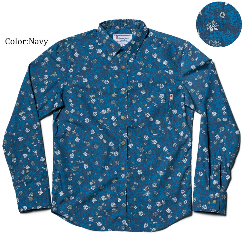 アロハシャツ かりゆしウェア メンズ(男性用)「Little Flower」全3色 長袖 LL 大きいサイズあり 沖縄結婚式にアロハシャツ 【メール便利用で送料無料】