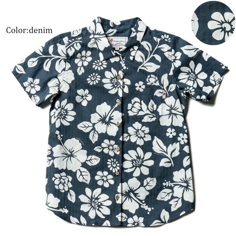 """メール便送料無料!アロハシャツ かりゆしウェア """"Floral Exhibition"""" レディース(女性用) 半袖オープンカラーシャツ 全5色 大きいサイズあり リゾートウエディング 沖縄結婚式にアロハシャツ"""