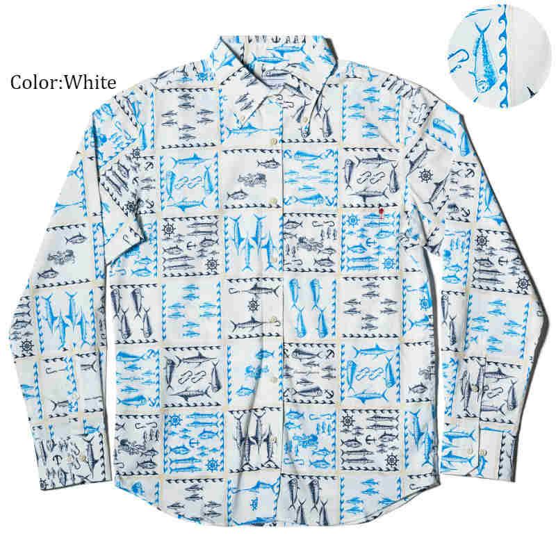 アロハシャツ かりゆしウェア メンズ(男性用)「Ocean Aquarium」全3色 長袖 LL 大きいサイズあり 沖縄結婚式にアロハシャツ 【メール便利用で送料無料】