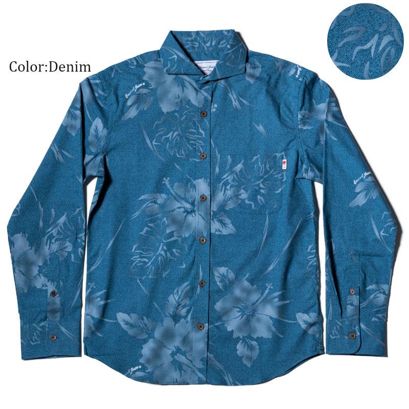 アロハシャツ かりゆしウェア メンズ(男性用)「Hibiscus Shadow」全4色 長袖 LL 大きいサイズあり 沖縄結婚式にアロハシャツ 【メール便利用で送料無料】