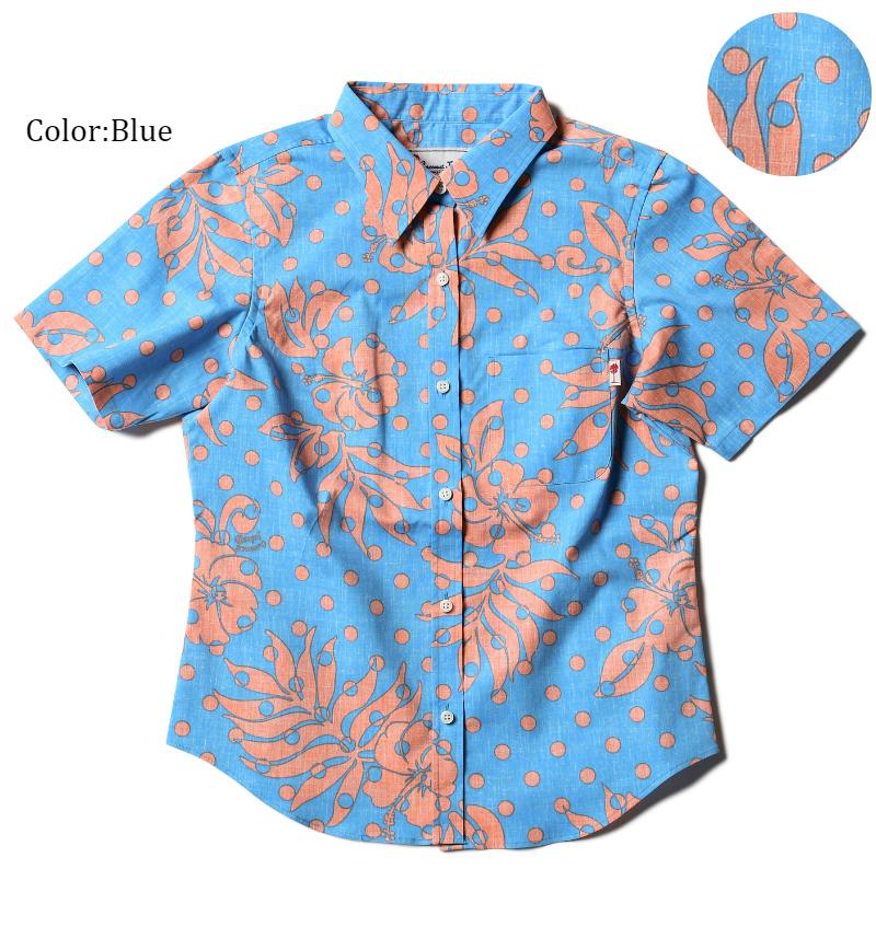 """メール便送料無料!アロハシャツ かりゆしウェア """"Polka-dot Hibiscus"""" レディース(女性用) 半袖レギュラーシャツ 全3色 大きいサイズあり リゾートウエディング 沖縄結婚式にアロハシャツ"""