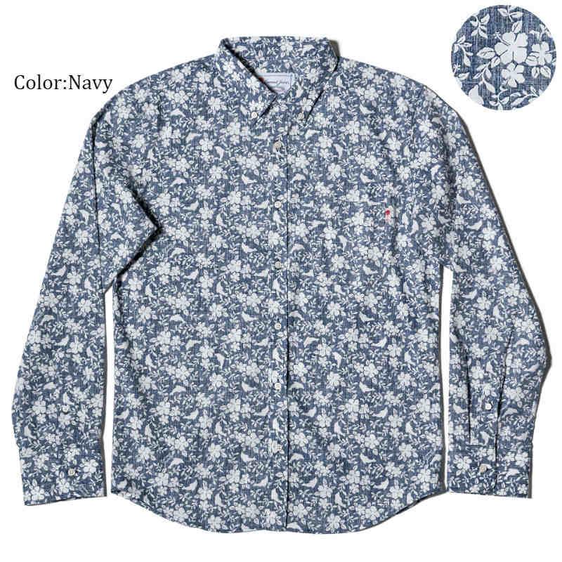 アロハシャツ かりゆしウェア メンズ(男性用)「Dolfine&Plant」全2色 長袖  大きいサイズあり 沖縄結婚式にアロハシャツ 【メール便利用で送料無料】