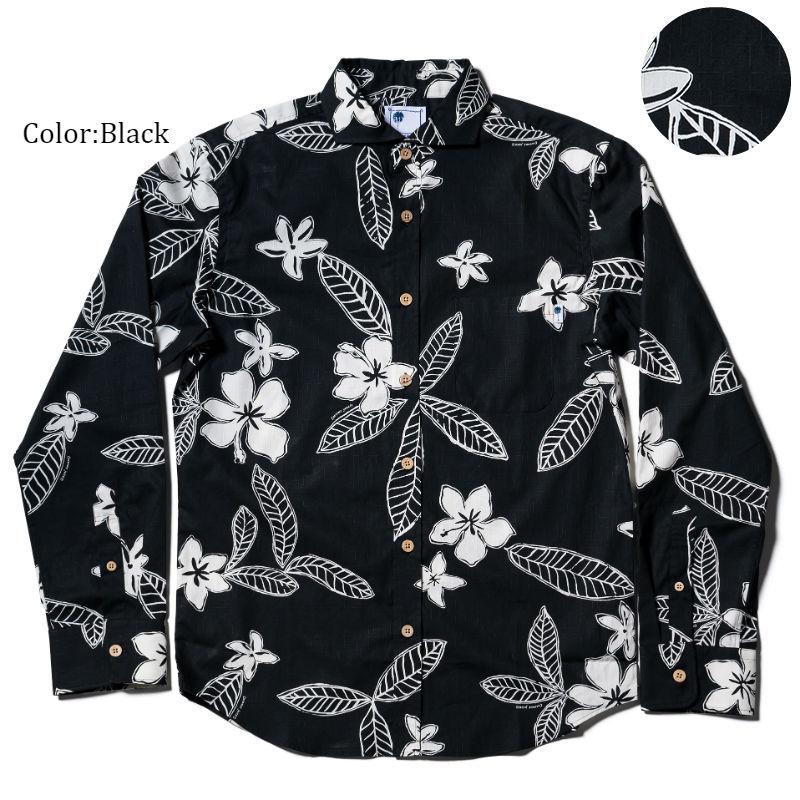 アロハシャツ かりゆしウェア メンズ(男性用)「Pua Melia」全3色 長袖 LL 大きいサイズあり 沖縄結婚式にアロハシャツ 【メール便利用で送料無料】