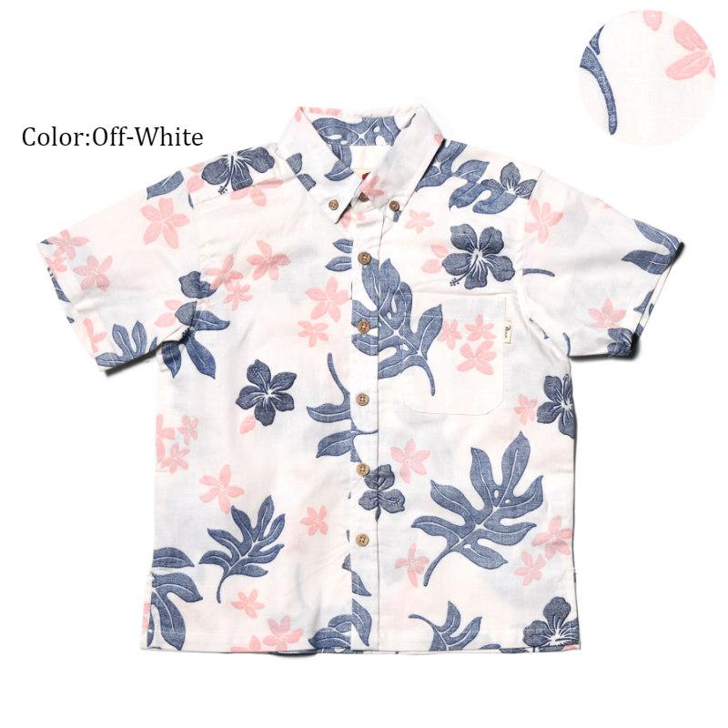 かりゆしウェア アロハシャツ キッズ(子供用)『Tropical Leaves』全3色 人気アロハのキッズサイズ! 半袖 大人サイズあり 沖縄結婚式にアロハシャツ【メール便利用で送料無料】