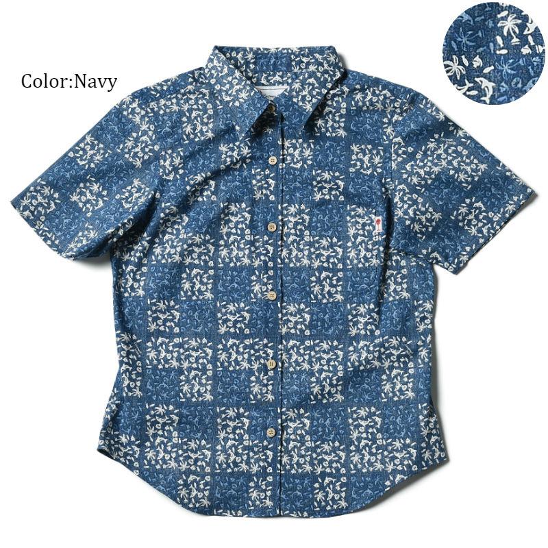 """メール便送料無料!アロハシャツ かりゆしウェア """"Marine Quilt"""" レディース(女性用) 半袖レギュラーシャツ 全3色 大きいサイズあり  リゾートウエディング 沖縄結婚式にアロハシャツ"""