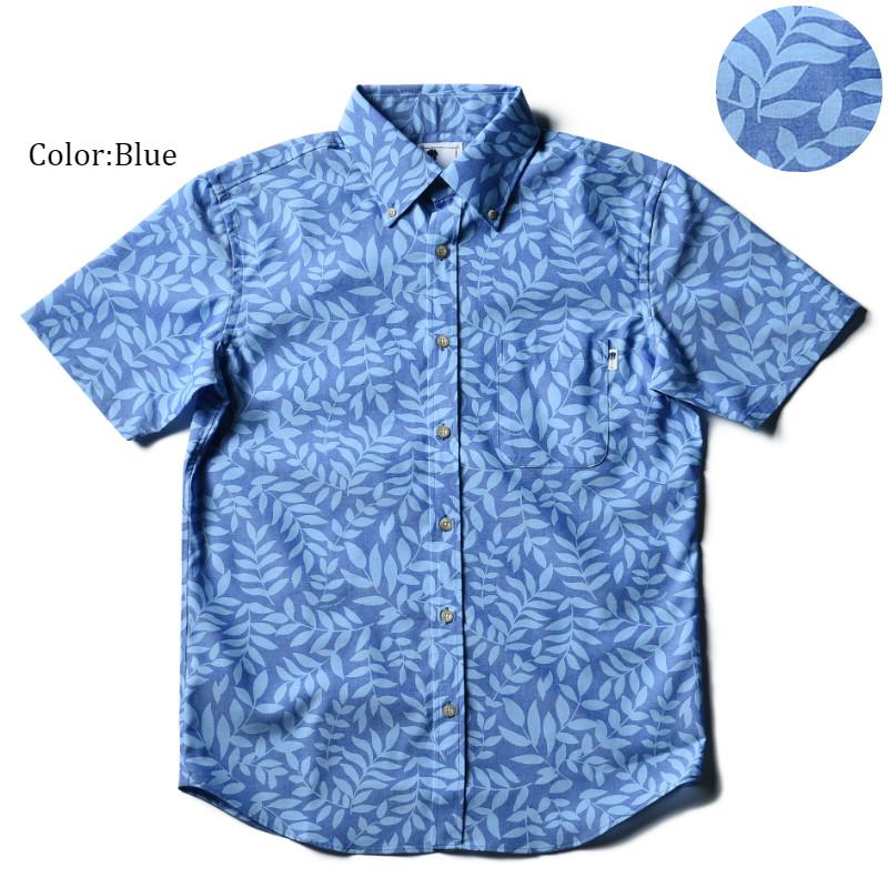 アロハシャツ かりゆしウェア メンズ(男性用)「Leaf dance」全2色 人気アロハがリニューアル! 半袖  大きいサイズありリゾートウエディング 沖縄結婚式にアロハシャツ【メール便利用で送料無料】