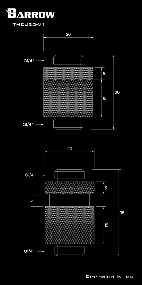 BARROW Minor Adjustment Set - 20mm(Male To Male) White