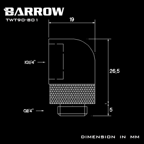 BARROW 90°Rotary Adapter (Male to Female) Gold