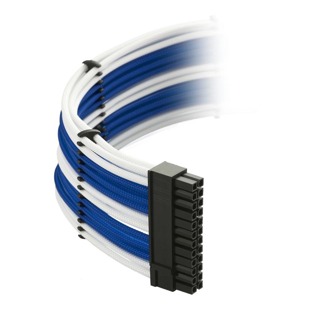 CableMod Classic ModMesh C-Series Cable Kit for Corsair AXi, HXi & RM - WHITE / BLUE (CM-CSI-CKIT-NKWB-R)