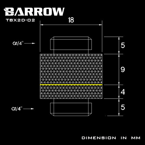 """BARROW G1/4"""" Rotary Male to Male  Extender Black"""