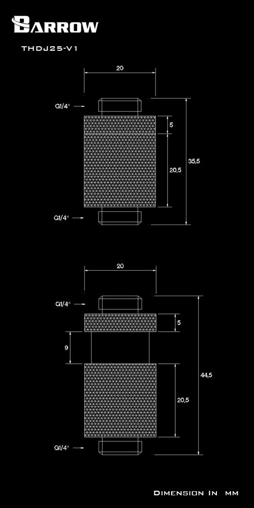 BARROW Minor Adjustment Set - 25mm(Male To Male) Black